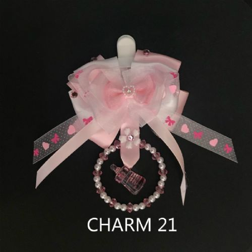 Stunning Hand Craft Pram Charm/Pink Ribbon Bow/Bottle Charm 21